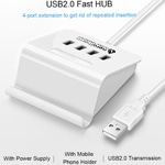 Universal 4-Port USB Hub With Phone Holder