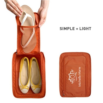 Portable Travel Shoe Bag with Mesh Pocket