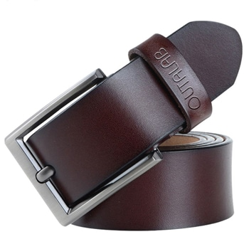 Genuine Leather Belt with Vintage Pin Buckle