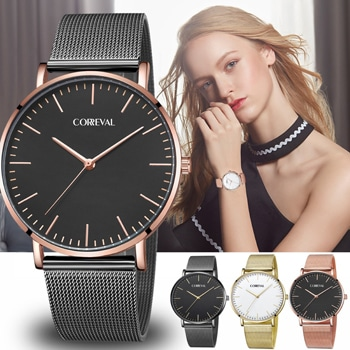 Casual Mesh Stainless Steel Ladies Wristwatch