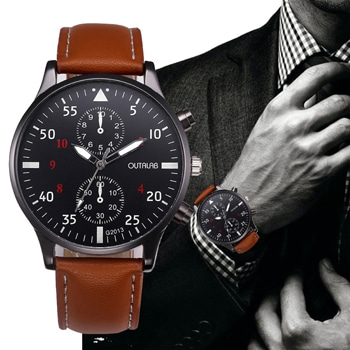 Masculino Leather Band Quartz Watch