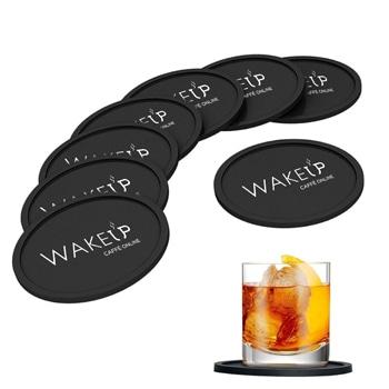 Round Silicone 8 Non-Slip Coasters Set