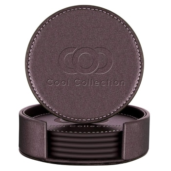 Round Leather Coasters Set with Holder