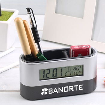 Digital Alarm Desk Pen Holder Clock