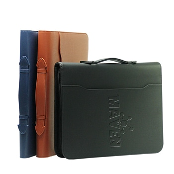Multi-Function A4 Leather Zipper Portfolio