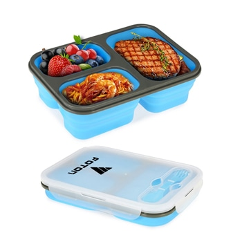 Collapsible Silicone Lunch Box With 3 Compartment