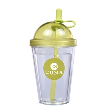 Double Layer Straw Tumbler with Lid