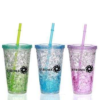 كأس جليد مزدوج الجدران بتصميم إبداعي مع مصاصة شرب