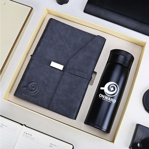 Business Notebook & Vaccum Bottle Gift Set Image 1