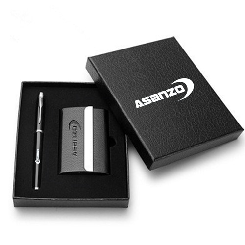 Classic Leather Card Holder Gift Set with Pen
