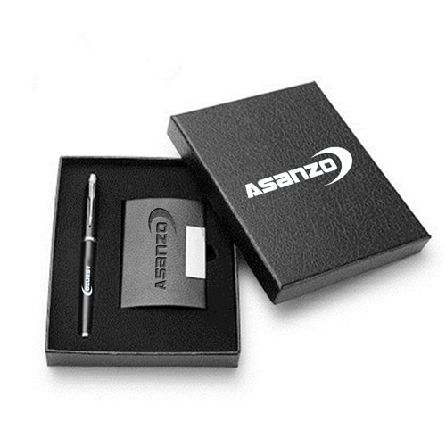Classic Leather Card Holder Gift Set with Pen Image 3