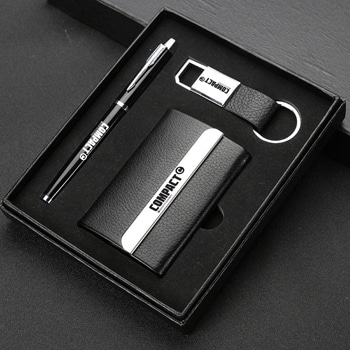 Leather Card Holder with Pen and Keychain