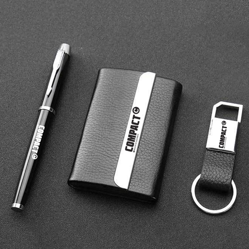 Leather Card Holder with Pen and Keychain Image 1