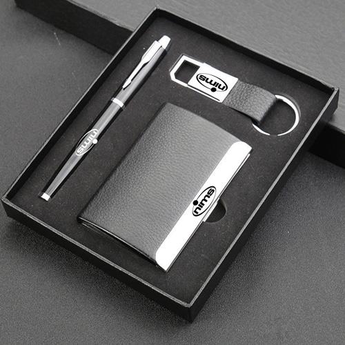 Elegant Card Holder, Pen & Metal Keychain Gift Set Image 1