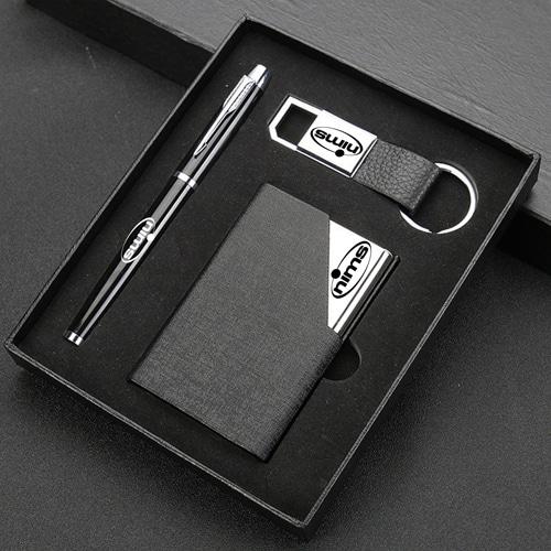 Elegant Card Holder, Pen & Metal Keychain Gift Set Image 4