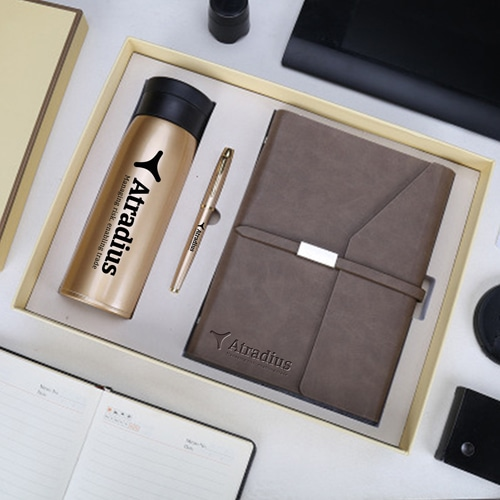 Corporate Notebook, Pen & Thermos Gift Set