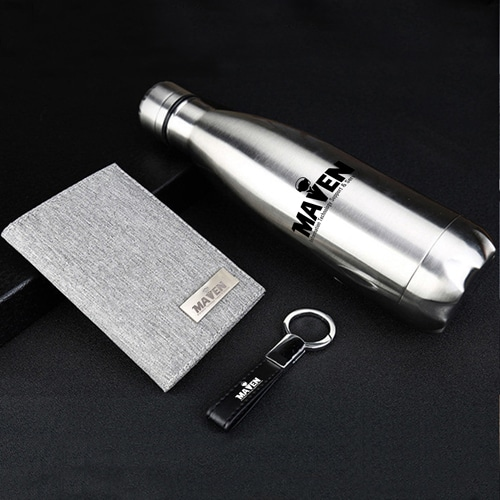Stainless Steel Water bottle & Notebook Gift Set with Keychain Image 1