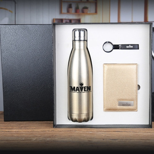 Stainless Steel Water bottle & Notebook Gift Set with Keychain Image 2