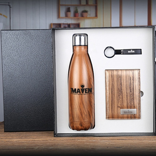 Stainless Steel Water bottle & Notebook Gift Set with Keychain Image 3