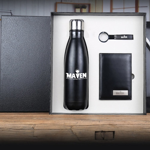 Stainless Steel Water bottle & Notebook Gift Set with Keychain Image 4