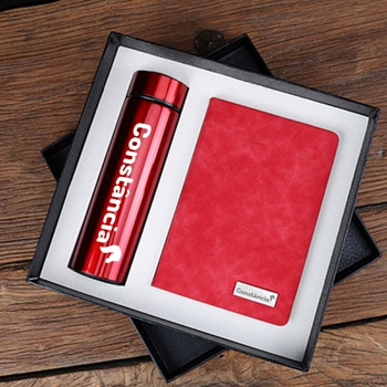 Stylish Leather Notebook & Vaccum Water Bottle Gift Set