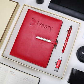 Corporate Lock Notebook Gift Set with Pen & USB Flash Drive