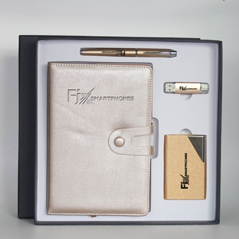 Promotional PU Leather Notebook & Pen Gift Set with Card Holder & Flash Drive