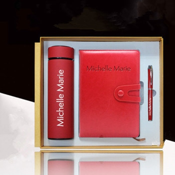 Leather Notebook & Thermos Gift Set with Pen
