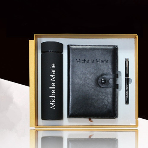 Leather Notebook & Thermos Gift Set with Pen Image 1