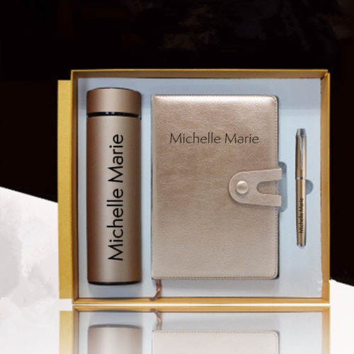 Leather Notebook & Thermos Gift Set with Pen Image 2