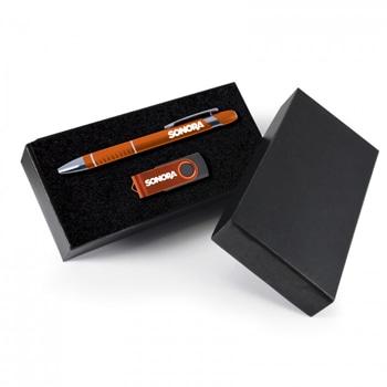 (مجموعة هدايا مكونة من قلم حبر جاف من الألومينيوم وقرص فلاش (يو إس بي