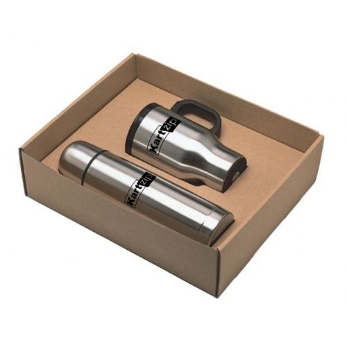 Stainless Steel Flask & Travel Mug Gift Set