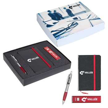 Custom Leather Journal & Power Bank Gift Set with Pen