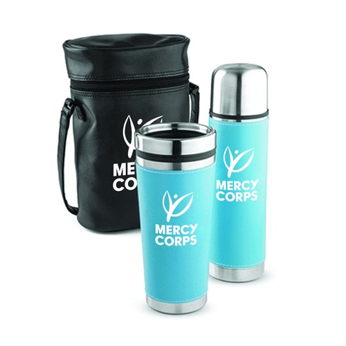 Leatherette Tumbler & Vaccum Bottle Set