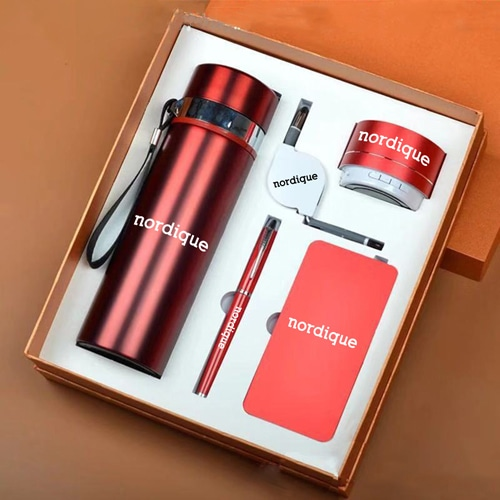 Bluetooth Speaker & Power Bank Gift Set with Pen, Bottle, & 2 in 1 Data Cable
