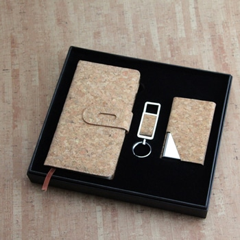 Cork Cover Mini Notepad & Card Holder Gift Set with Keychain