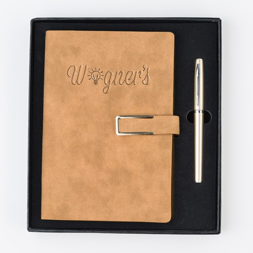 Hard Cover PU Leather Notebook Set with Pen