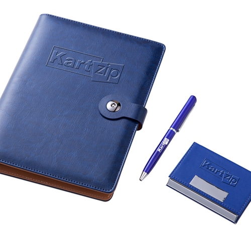 Executive Leather Notebook & Pen Gift Set with Card Holder Image 1