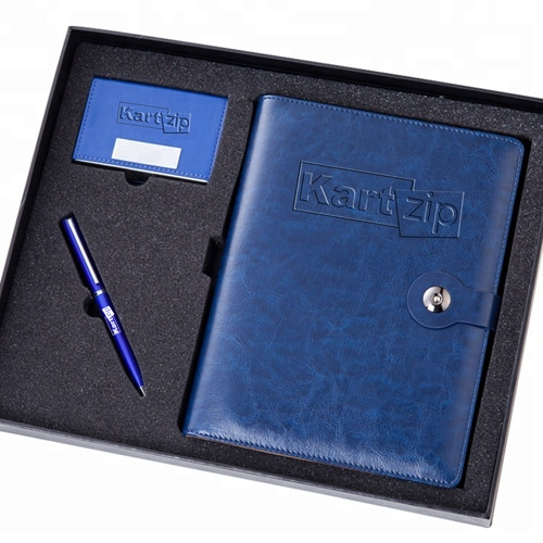 Executive Leather Notebook & Pen Gift Set with Card Holder Image 2