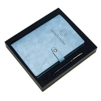 دفتر ملاحظات بغلاف صلب من الجلد الإصطناعي مخصص حسب الطلب مع قلم