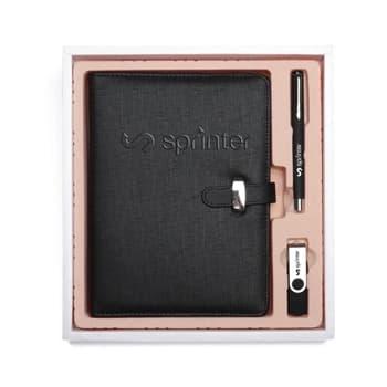 (و قلم مع قرص فلاش (يو إس بي A5 مجموعة هدايا مكونة من دفتر ملاحظات ذو أوراق فضفاضة بحجم صيغة