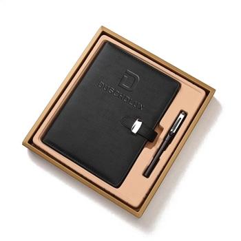 قلم ترويجي و دفتر يوميات من الجلد الإصطناعي مع مشبك يغلق بحزام