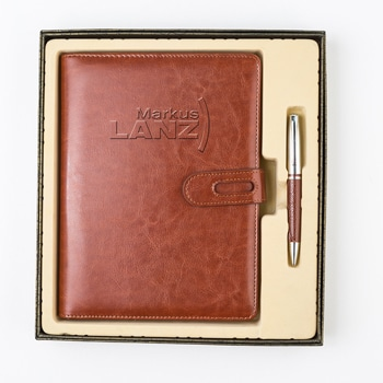 Corporate Leather Notebook & Roller Pen Gift Set