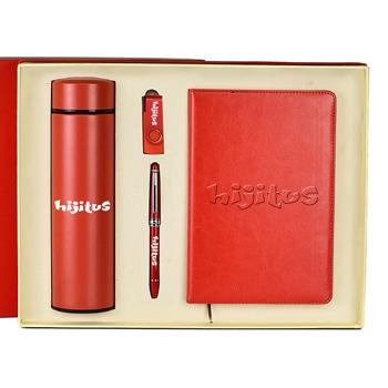 (مجموعة هدايا مكونة من دفتر يوميات من الجلد الإصطناعي و قلم مع قنينة من الفولاذ المقاوم للصدأ و قرص فلاش (يو إس بي