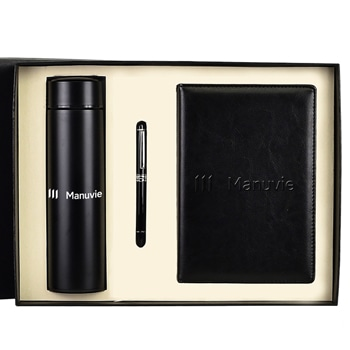A5 Size PU Leather Diary & Pen Set with Vaccum Bottle