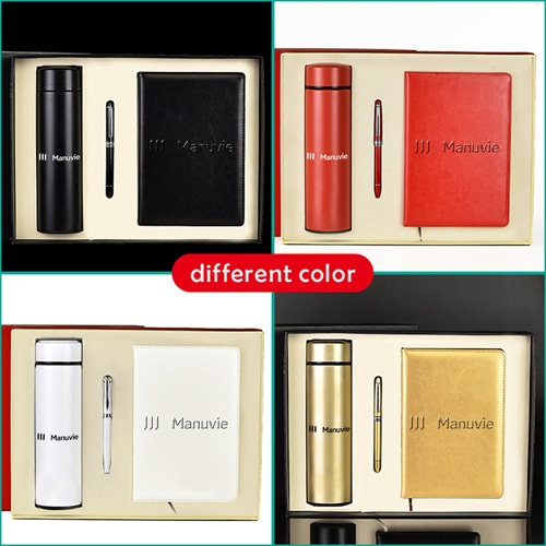 A5 Size PU Leather Diary & Pen Set with Vaccum Bottle Image 1