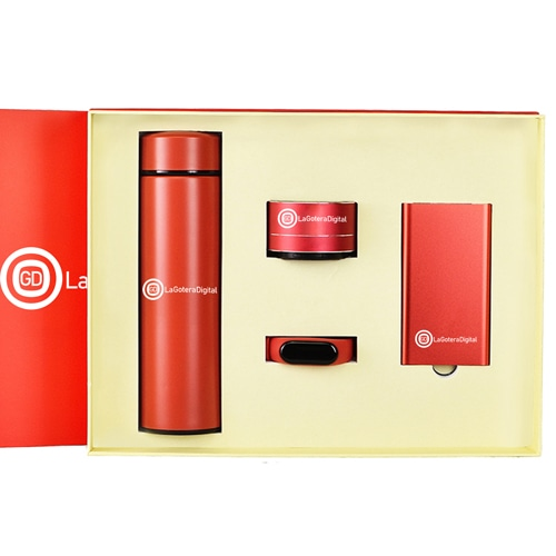 Smart Watch & Power Bank Gift Set with Blutooth Speaker & Thermos Bottle