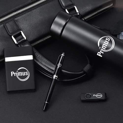 Corporate Vaccum Bottle & 8GB Flash Drive Gift Set with Pen & Card Holder Image 1