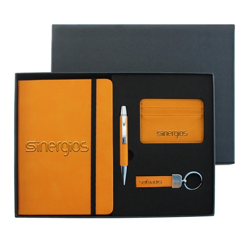 PU Leather Notebook & Pen Set with Leather Keychain & Card Wallet