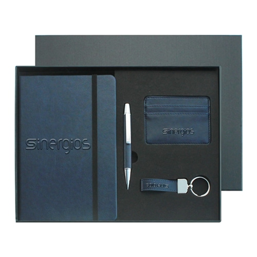 PU Leather Notebook & Pen Set with Leather Keychain & Card Wallet Image 1